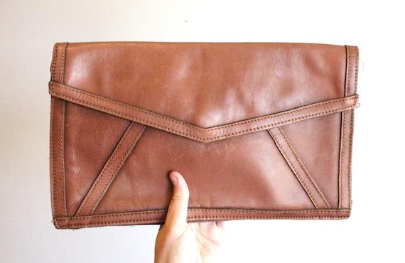 70's Cognac Leather Clutch Handbag