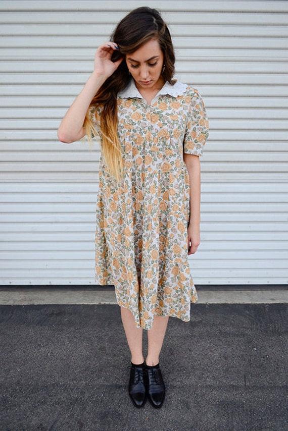 vtg 90s  oversized granny floral dress
