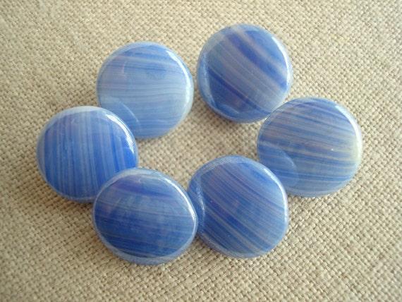Czech glass buttons, blue striated, 1950s Bohemia
