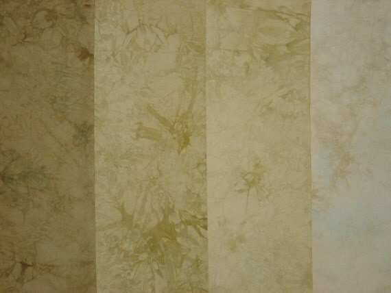 SALE Hand Dyed Fabric - Cotton Quilt, Deep Beige to Light Ecru Gradation , 4 Fat Quarters (LS)
