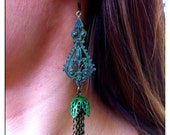 Green Verdigras Brass Chain Tassel Earrings