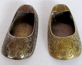 "Pair of Brass Plated Shoe Shaped Ashtrays, dimensions each:  3"" long  X  1-1/2"" wide"