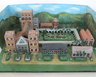 TREASURY ITEM Middle Ages Benedictine Monastery Shoebox Diorama Educational Child Naive Art Sculpture