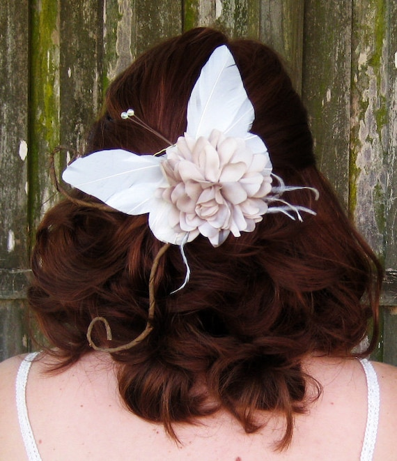 Ivory Woodland Butterfly Hair Clip