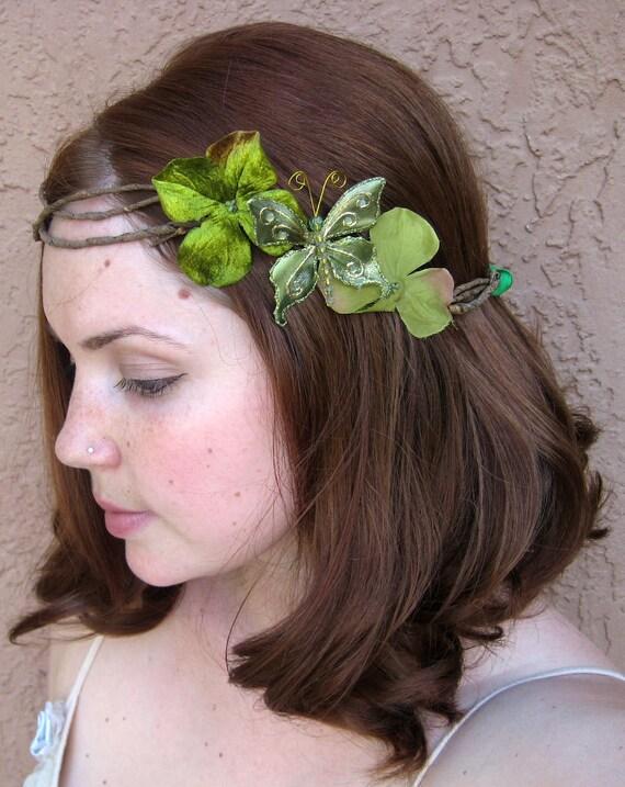 Green Butterfly Hair Wreath