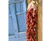 5x7 blank greeting card of a chile ristra drying in Taos, New Mexico. Southwestern photography