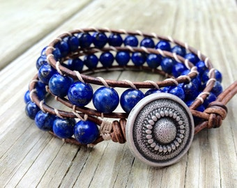 Lapis Lazuli Leather Wrap Bracelet with Pyrite