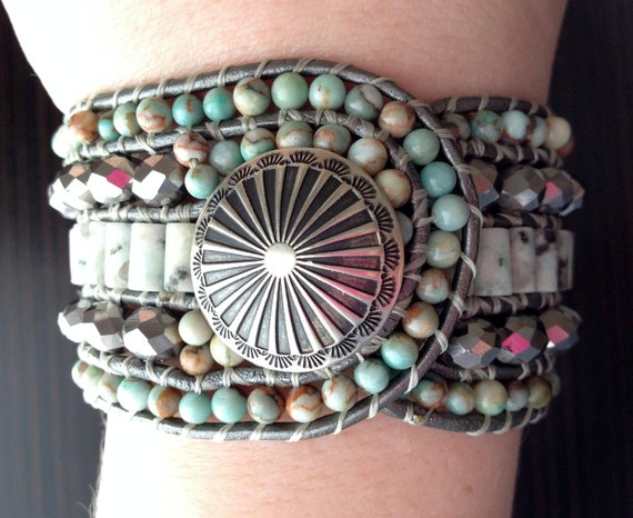 Southwestern Green and Silver Beaded Leather Cuff Bracelet, Classy gemstone cuff