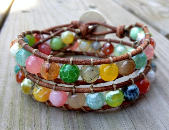 Multi Gemstone Beaded leather wrap bracelet with sterling silver charm, double wrap, colorful bracelet, beach boho jewelry
