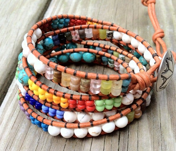 Southwestern Turquoise Leather Wrap Bracelet with Multi Gemstones, Native American inspired, Santa Fe jewelry 4X