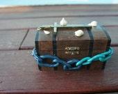 Decorative Vampire Coffin Treasure Chest Style Box w/ Garlic, Cross, Chains