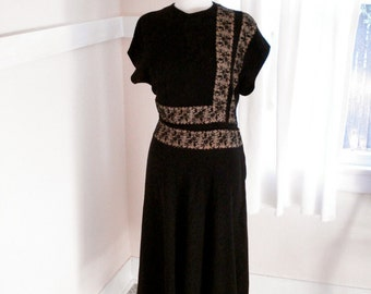 1940's Dress - Vintage 40s  Black Dress with Nude Illusion - A Dress Made for Dancing!