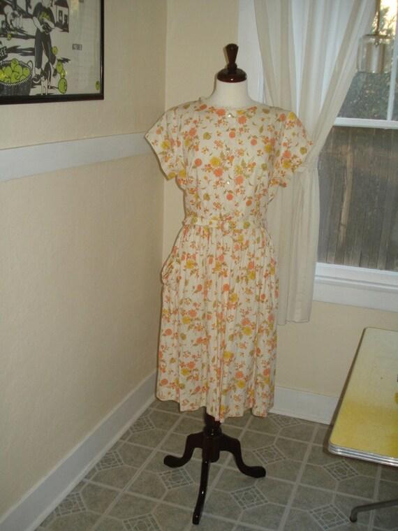 Sweet Floral Vintage Day Dress, 1950s, Large or XLarge