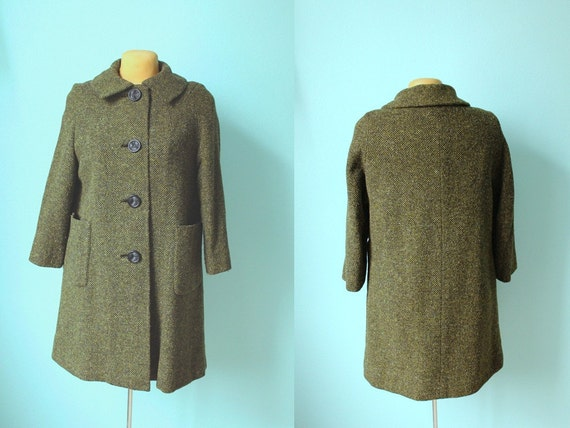 vintage 1960s olive green tweed swing coat // small - medium