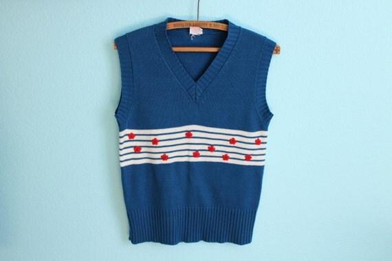 vintage 80s super cute blue embroidered flower sweater vest // size medium