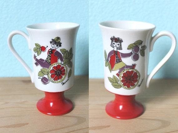 vintage 70s mod mid century Corsica Arnart pedestal mug // Figgjo Flint style