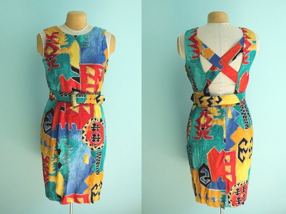 vintage 90s tribal sleeveless cutout back dress // size 13/14 // size large