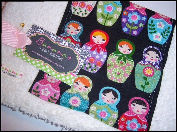 Burp Cloth with Matryoshka Dolls Super Thick and Absorbent