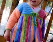 Girls' Multi-color Crocheted Sweater Jacket & Newsboy Beanie