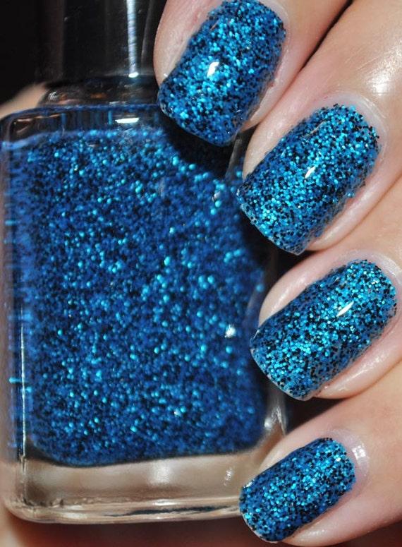 Sneeze Breeze Black and Blue Glitter Nail Polish 15ml(.5oz)