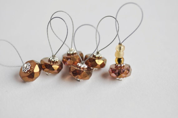 6 stitch markers Golden Brown - Hand made