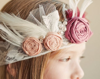 The Gatsby Glamour wedding headband  ..1920s Vintage Wedding .. Vintage Headband for Bridesmaids .. Flower girl Headband