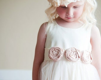 Flower Girl Dress , Vintage Flower girl dress, first communion dress in ivory or white with blush pink flowers