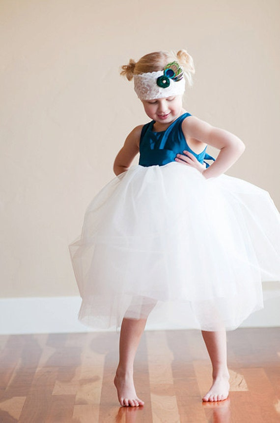 The Paradise Dress: Peacock blue Flower girl dress with romantic tutu skirt. Fully lined. Tutu bridesmaid dress. Tulle flower girl dress