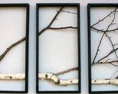 Birch Branch Wall Hanging Triptych,Original Art,  Rustic Art, Urban, Chic, Modern