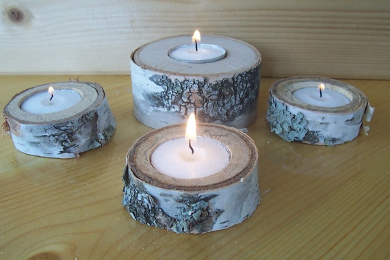Birch Tea Light Candle Holders - Set of 4 with Natural Green Lichen, Shabby Chic, Rustic Decor, Wedding Decor