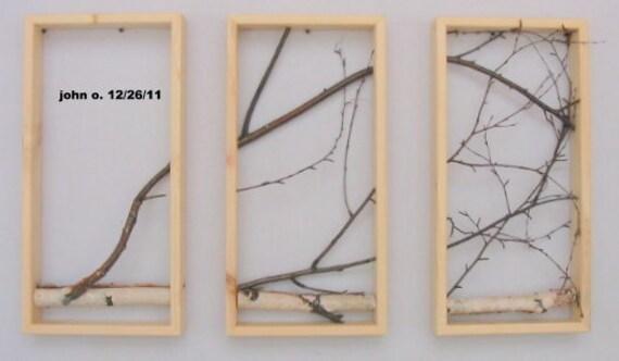 Birch Branch Wall Hanging Triptych,Original Art, Urban, Rustic Art