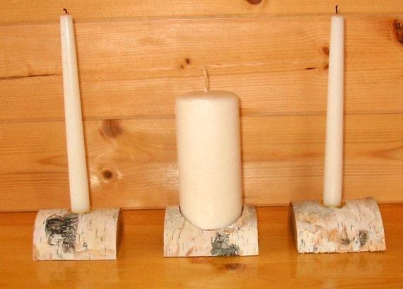 Birch Half Log Unity Candle Holder - Shabby Chic Wedding, Variation of half log