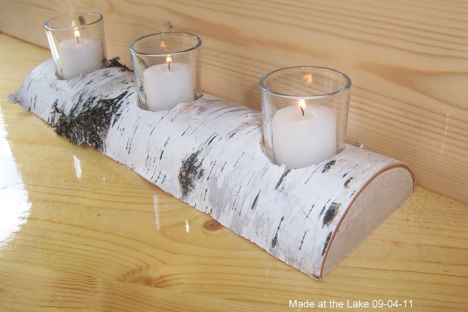 Birch half log votive candle holder shabby chic rustic for Log candle holder how to make