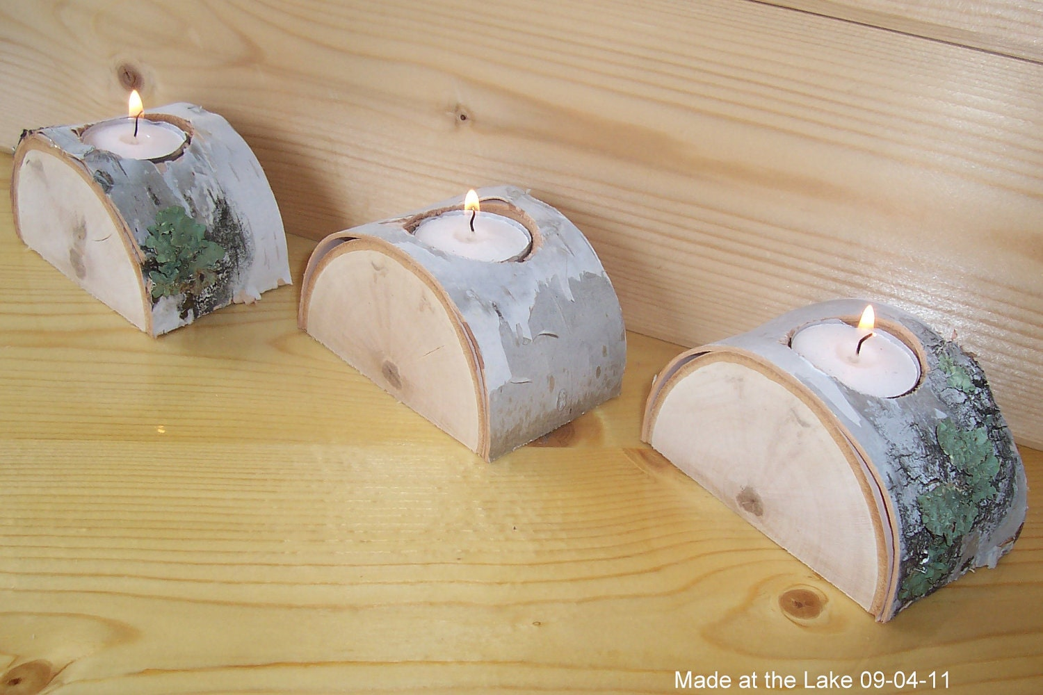 Birch half log tea light candle holders set of 3 with for Log candle holder how to make