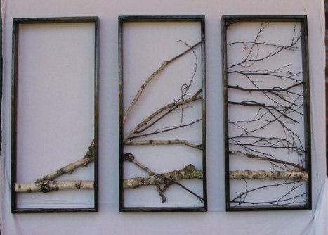 Birch Branch Wall Hanging Triptychoriginal Art Urban Rustic