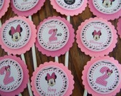 Minnie Mouse Cupcake Toppers-Minnie Mouse Birthday Cupcake Toppers-Minnie Mouse Birthday Decoration-Minnie Mouse Decoration-Zebra and Pink