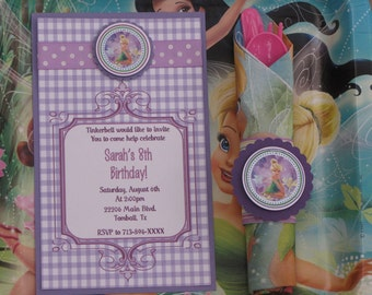 Tinkerbell Birthday Party Package-Tinkerbell Party Package-Tinkerbell Invitations-Tinkerbell Favor Tags-Tinkerbell Cupcake Toppers-Purple