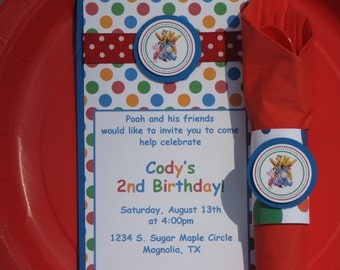 Winnie the Pooh Birthday Party Package-Pooh Party Package-Pooh Invitations-Winnie the Pooh Birthday Decoration-Pooh Party Decoration