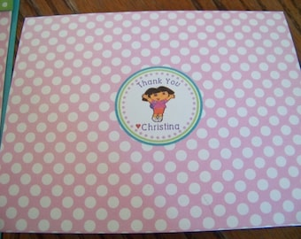 Dora The Explorer Thank You Cards-Dora The Explorer Birthday Thank You Cards-Dora The Explorer Thank You Notes-Dora Thank You Note