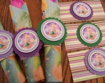 Tinkerbell Napkin Rings-Tinkerbell Birthday Decoration-Tinkerbell Party Decoration-Tinkerbell Silverware Wrap-Napkin Rings-Silverware Wraps