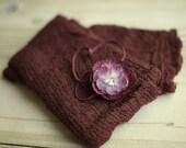Maroon Stretchy Knit Newborn Wrap with Matching Headband