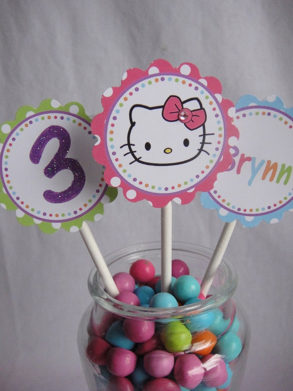 Hello Kitty Birthday Party 12 Hand Glittered Cupcake Toppers
