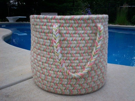 Wool Braided Basket in soft Beach colors