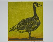 Woodblock print card: Green Goose
