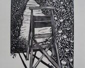Woodblock print: Greenhouse