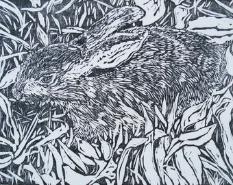 Woodblock print: Bunny