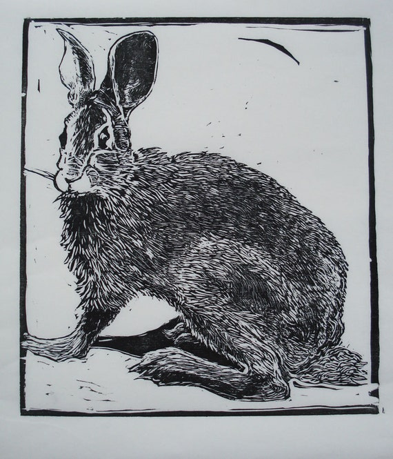 Woodcut Print: Watching Rabbit
