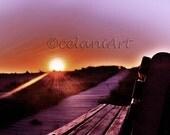 Sunrise, Sitting next to the Sky Landscape Photography Print - Free U.S Shipping - brown purple orange yellow