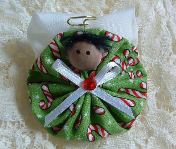Christmas angel pin handmade fabric yoyo decoration