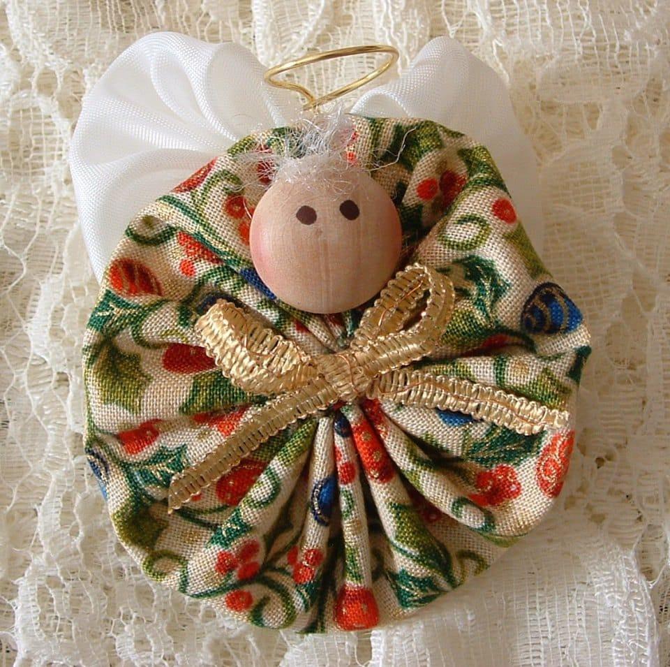 Christmas angel pins handmade fabric yoyo decoration for Handmade decoration